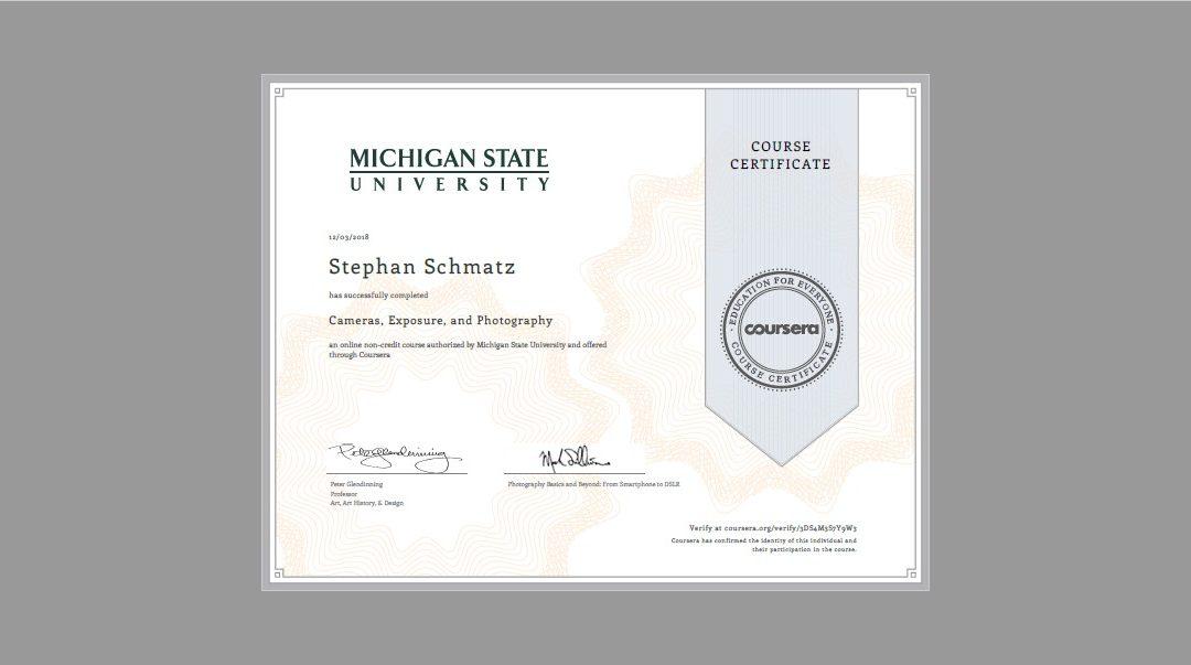 "Online-Kurs ""Cameras, Exposure, and Photography"" erfolgreich absolviert"