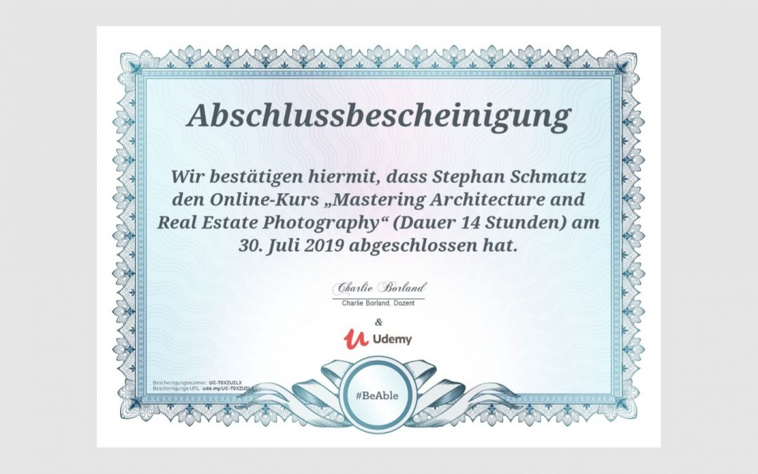 "Onlinekurs ""Mastering Architecture and Real Estate Photography"" erfolgreich abgeschlossen"