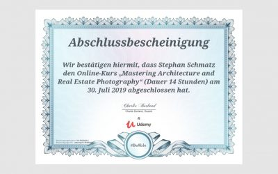 "Onlinekurs ""Mastering Architecture and Real Estate Photography"" erfolgreich abgeschlossen"